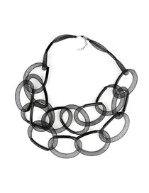 Fashion Black Multilayer Knotted Dream Catcher Necklace