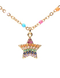 Fashion Color Dripping Stainless Steel Diamond Pentagram Necklace