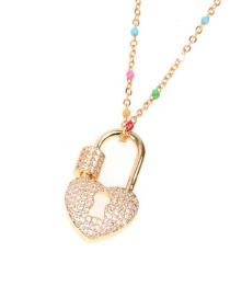 Fashion Golden Micro Inlaid Zircon Lock Stainless Steel Necklace