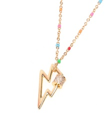 Fashion Golden Micro-set Zircon Lightning Stainless Steel Necklace