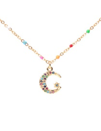Fashion Xingyue Dripping Oil Pentagram Moon Necklace