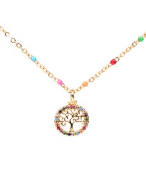 Fashion Life Tree Dripping Diamond Moon Tree Of Life Necklace