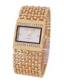 Fashion Golden Women's Quartz Watch With Steel Band And Diamonds
