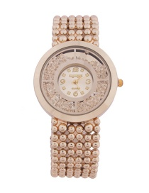 Fashion Golden Women's Watch With Quicksand Dial And Diamonds