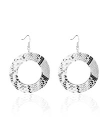 Fashion Serpentine Round Pu Leather Snake Print Round Earrings