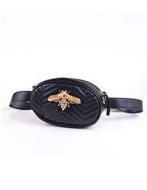 Fashion Black Bee Diamond Bee Shoulder Belt Bag