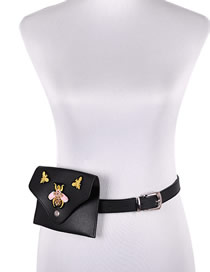 Fashion Black Pu Leather Diamond Bee Messenger Belt Bag