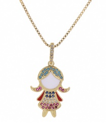Fashion Golden Cubic Zirconia Girl Necklace
