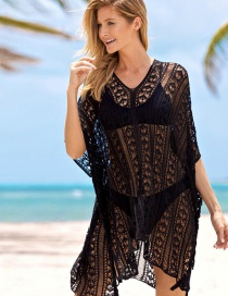 Fashion Black Cutout Knitted Loose Plus Size Sun Blouse