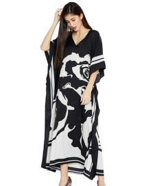 Fashion Black And White Black And White Floral Print Loose Long Sun Dress