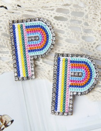 Fashion P Color Alphabet Embroidered Contrast Diamond Earrings
