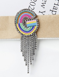 Fashion G Color Embroidered Brooch With Diamonds And Letters