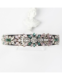 Fashion Color Mixing Bronze Claw Studded Wide Flower Headband With Diamonds And Pearls