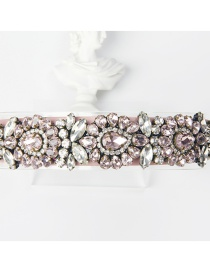 Fashion Pink + White Copper Claw Studded Wide Flower Hoop With Diamonds