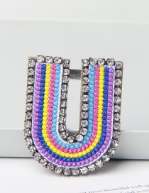 Fashion U Color Brooch With Embroidered Letters And Diamonds