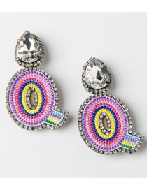 Fashion Q Color Embroidered Drop Earrings With Diamonds And Letters