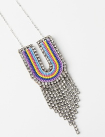 Fashion U Color Alphabet Mixed Color Embroidered Diamond And Fringe Necklace