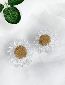 Fashion Transparent Alloy Resin Transparent Flower Earrings