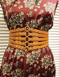 Fashion Beige Gold Rivets Full Studded Elastic Dress Belt