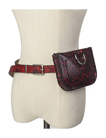 Fashion Wine Red Snakeskin Buckle Metal Hoop Geometric Waist Bag Shoulder Bag