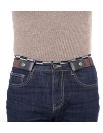 Fashion Brown Concealed Concealed Buckle Belt