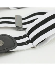 Fashion Black And White Stripes Contrasting Concealed Concealed Buckle Belt With Elastic Stripe