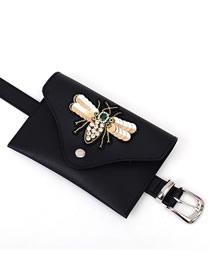 Fashion Golden Bevel Diagonal Belt Buckle Belt With Diamond Sequins