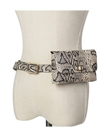 Fashion Serpentine Apricot Snakeskin Belt Buckle Flap Belt Belt Bag