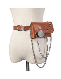 Bolso De Cintura Ancha Con Cinturón De Cadena Cruzada De Cadena Grande