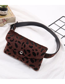 Fashion Coffee Leopard Faux Horsehair Flock Flock Crossbody Bag