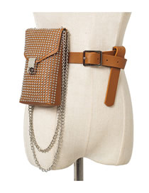 Fashion Camel Studded Pu Chain Lock Belt Belt Bag