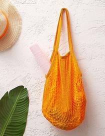 Fashion Orange Cotton Mesh Large Capacity Supermarket Shopping Net Bag