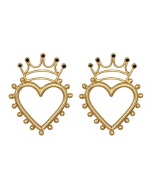 Fashion Black Gold-plated Love Crown Pierced Earrings