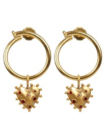 Fashion Red Gold-plated Oil-dropping Heart Openwork Earrings