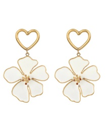 Fashion White Gold-plated Drip Oil Flower Irregular Love Earrings