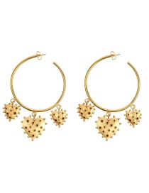 Fashion Red Gold Plated Love Hoop Earrings