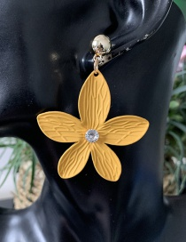 Fashion Yellow Petal Alloy Enamel And Diamond Stud Earrings