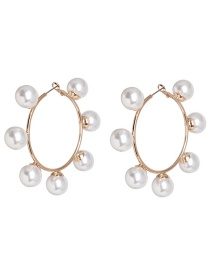 Fashion Golden Circle Pearl Alloy Earrings