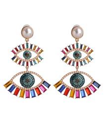 Fashion Color Pearl Eye Cutout Stud Earrings With Rhinestones