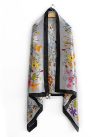 Fashion Gray Contrast Border Flower Print Simulation Silk Scarf