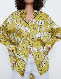 Fashion Yellow Oversized Elephant Print Long Sleeve Shirt