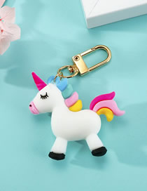 Fashion White Unicorn Resin Keychain Pendant