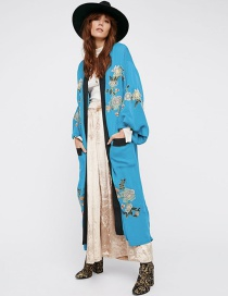 Fashion Light Blue Pocket Embroidered Stitching Contrast Cardigan