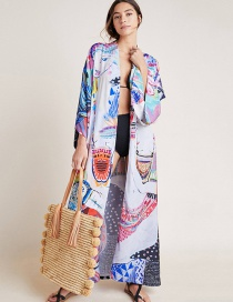 Fashion Color Mid-length Cardigan With Cotton Print And Belt