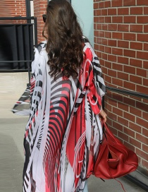 Fashion Watermelon Red Chiffon Zebra Print Cardigan