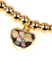 Fashion Golden K Micro Beaded Diamond Love Heart Copper Bead Bracelet