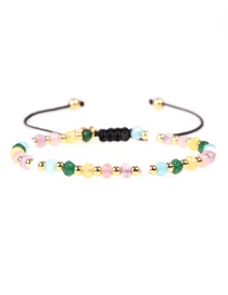 Fashion Color Faceted Natural Stone Mixed Color Bead Adjustable Bracelet