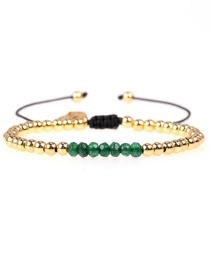 Fashion Green Adjustable Bracelet Natural Stone Copper Gold Plated Bead Adjustable Bracelet