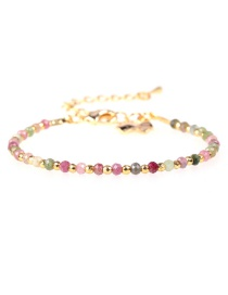 Fashion Color Flat Faceted Natural Stone Mixed Color Gold-plated Bracelet