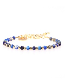 Fashion Royal Blue Flat Faceted Natural Stone Mixed Color Beaded Copper Plated Real Gold Bracelet